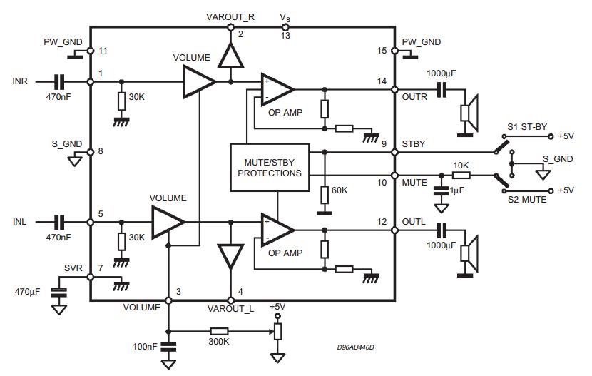 forum diagram  5w 5w amplifier with dc volume control tda7496