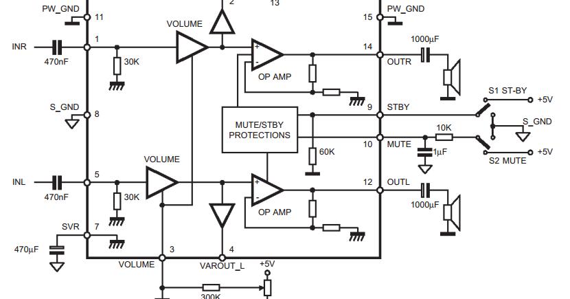 Forum Diagram: 5W 5W AMPLIFIER WITH DC VOLUME CONTROL TDA7496
