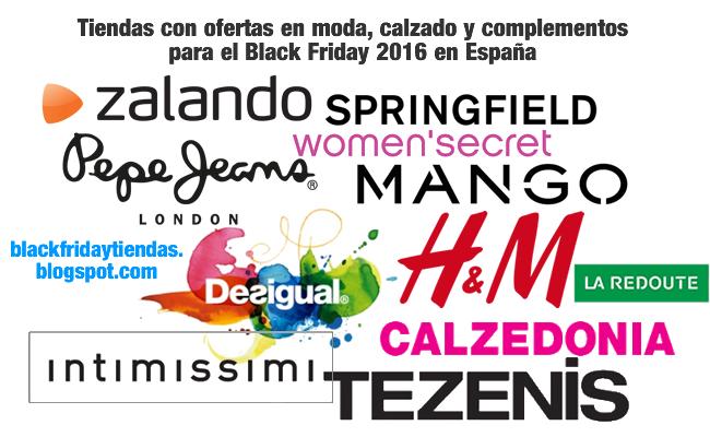 Tiendas con ofertas en moda, calzado y complementos para el Black Friday 2016 en España