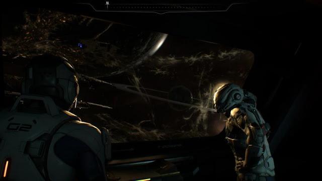 personaje en traje espacial en la galaxia Andromeda en Mass Effect Andromeda, el videojuego de BioWare