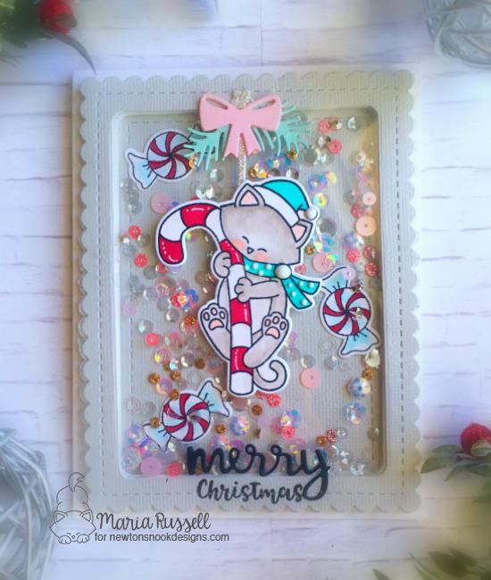 Holiday Kitty Shaker Card by Maria Russell | Newton's Candy Cane Stamp Set and Frames & Flags Die Sets by Newton's Nook Designs #newtonsnook #handmade