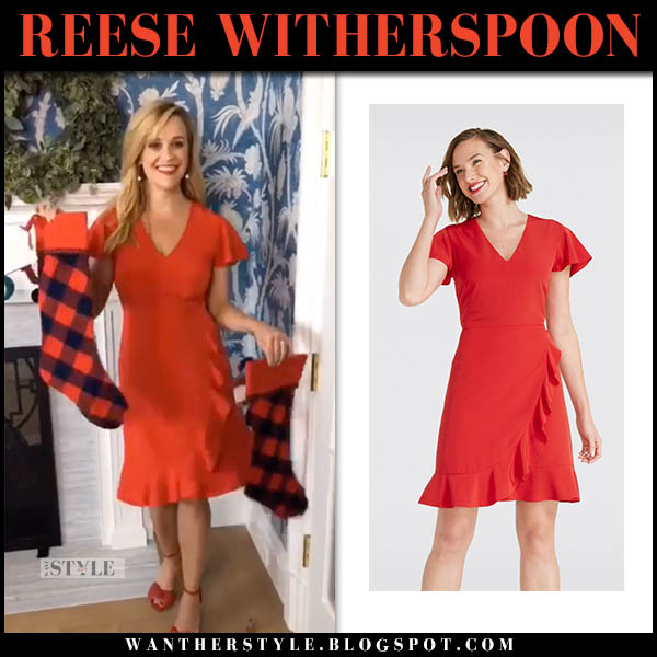 Reese Witherspoon in bright red mini dress holiday christmas celebrity style november 25