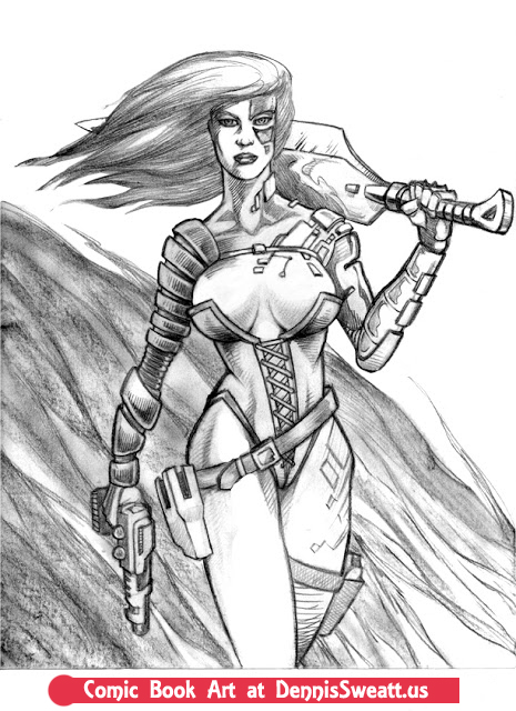 Warrior Woman Portfolio Drawing