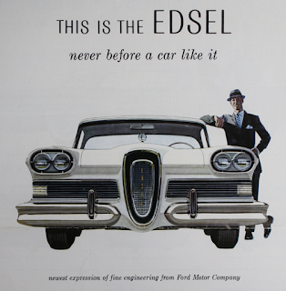 This vintage ad showing the front view of a Ford Edsel with it's happy male owner seems to be written by Yoda