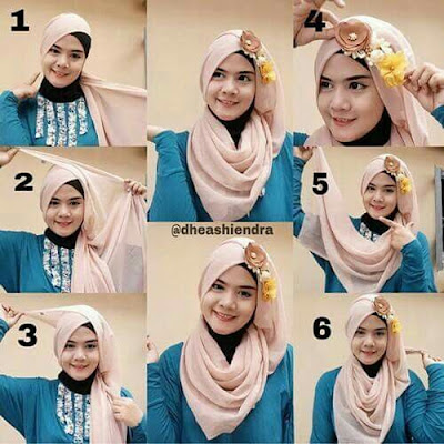 Tutorial Hijab Turban Segi Empat Modern Gaya #12 Mermaid Hair Style