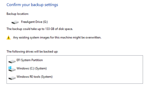 confirm backup settings