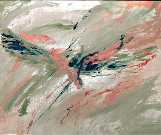 32 - L'aigle noir et le faucon cuivré - © Edith Smets - 120/110 - huile, acrylique et bris de verre sur toile