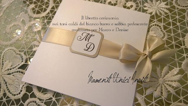 libr Il libretto cerimonia di Denise e MarcoColore Beige Colore Bianco Colore Sabbia cover libretti Libretti messa