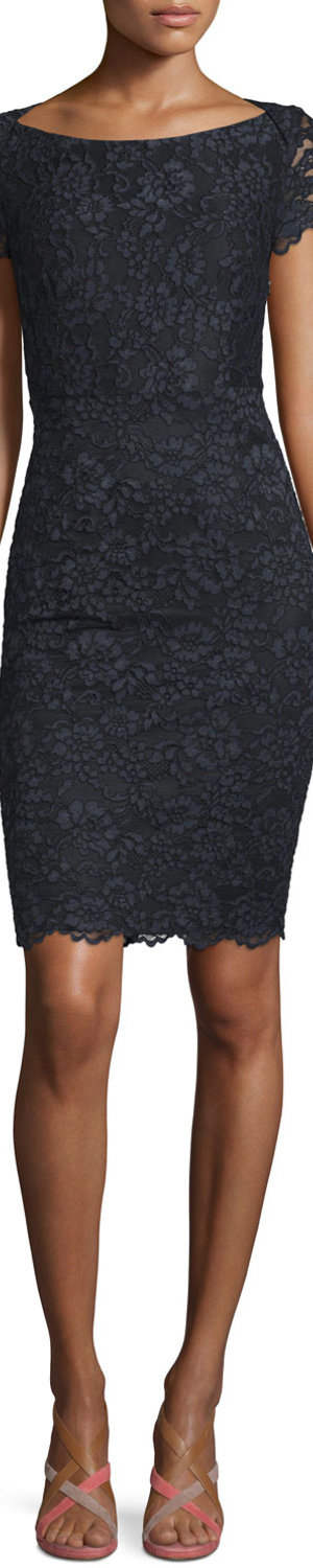 Diane von Furstenberg Ainsley Cap-Sleeve Lace Sheath Dress, Black