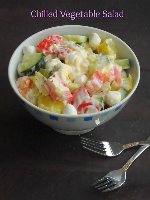 Chilled vegetable Salad,Mixed Vegetable cold Salad