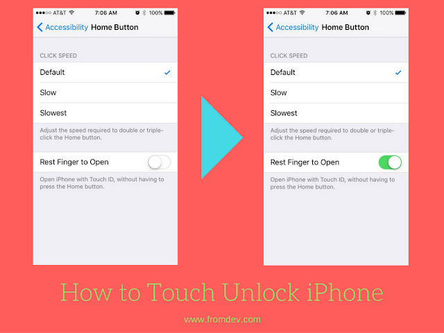 How to touch unlock iPhone with iOS 10 or later