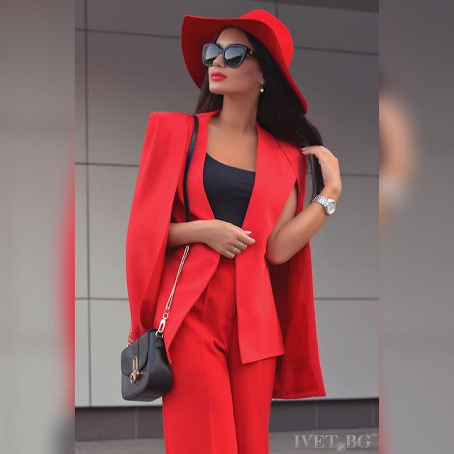 Κομψό γυναικείο κόκκινο σακάκι BERNADETA RED