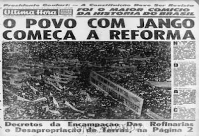 Primeira página do Ultima Hora em 1964, O povo com Jango