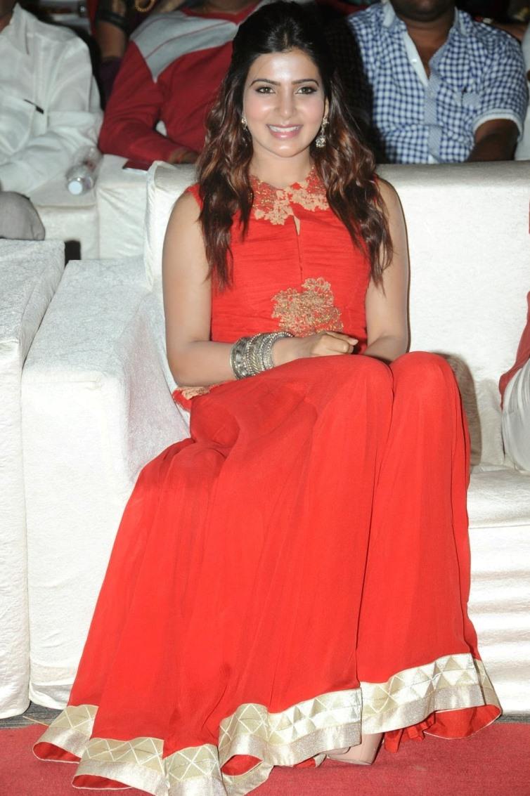 Film Actress Samantha Hot In Orange Dress At Audio Function