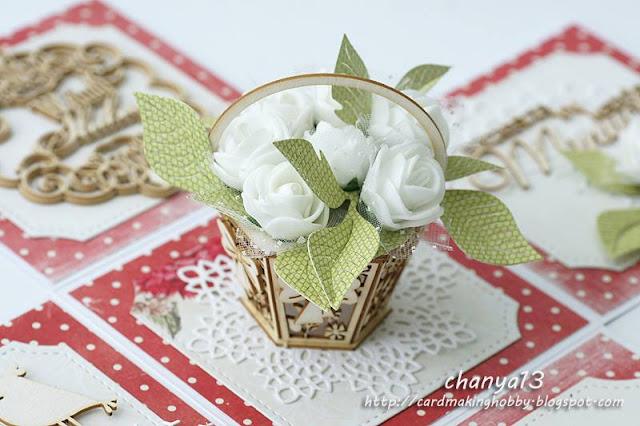 koszyczek z beermaty z kwiatami