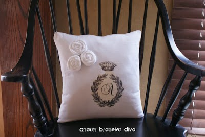 Iron-on transfer monogram floursack pillow