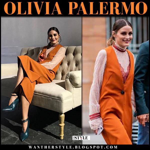 Olivia Palermo in orange sleeveless vest and white lace dress jonathan simkhai new york fashion week style september 8