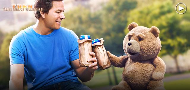 Ted (Seth MacFarlane) și John (Mark Wahlberg) în comedia Ted 2
