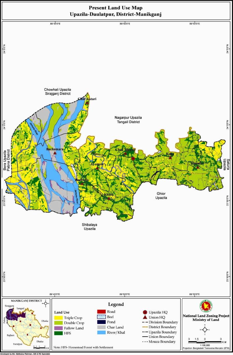 Daulatpur Upazila Mouza Map Manikganj District Bangladesh