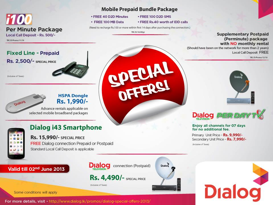 Telecommunication News from Sri Lanka: Dialog Special Offers - 2013