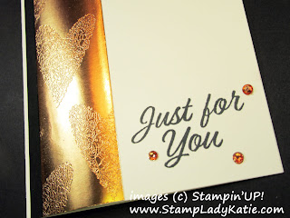 Copper embossing on copper foil paper. Card made by StampLadyKatie using Stampin'UP!'s Meant to Be stamp set.