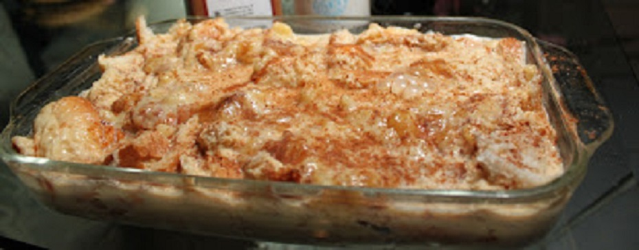 this is a lemon pudding baked in the oven called limoncello bread pudding