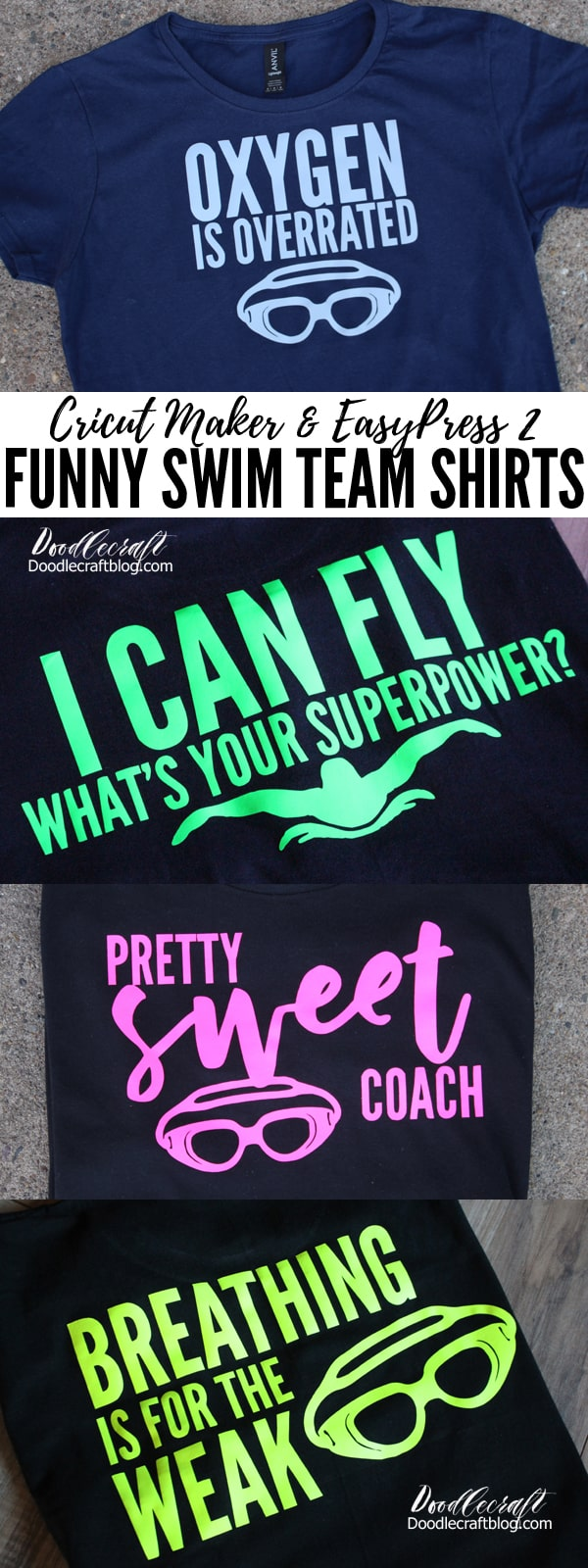 4 funny swimmer themed shirts made with the Cricut Maker and EasyPress 2 for perfect swim team gift ideas.