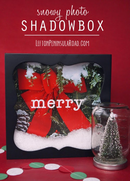 Free printable and faux snow make an adorable Christmas shadowbox.