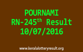 POURNAMI Lottery RN 245 Results 10-7-2016
