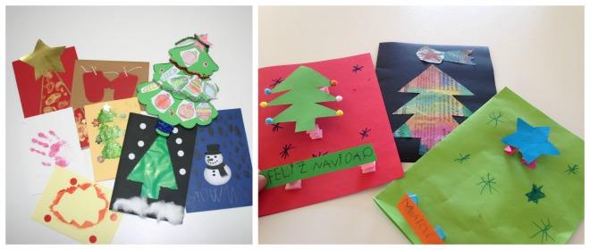 practicar lectoescritura en navidad: targetas navideñas diy