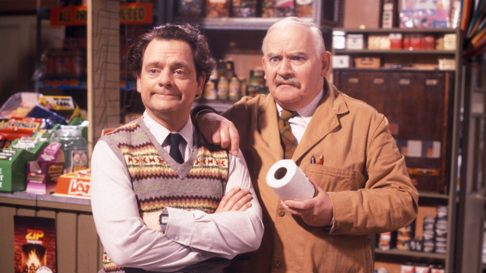 A still from Open All Hours showing two of the main cast members
