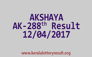 AKSHAYA Lottery AK 288 Results 12-4-2017