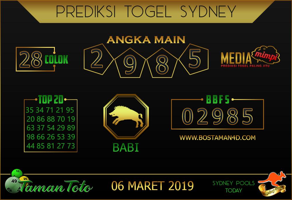 Prediksi Togel SYDNEY TAMAN TOTO 06 MARET 2019