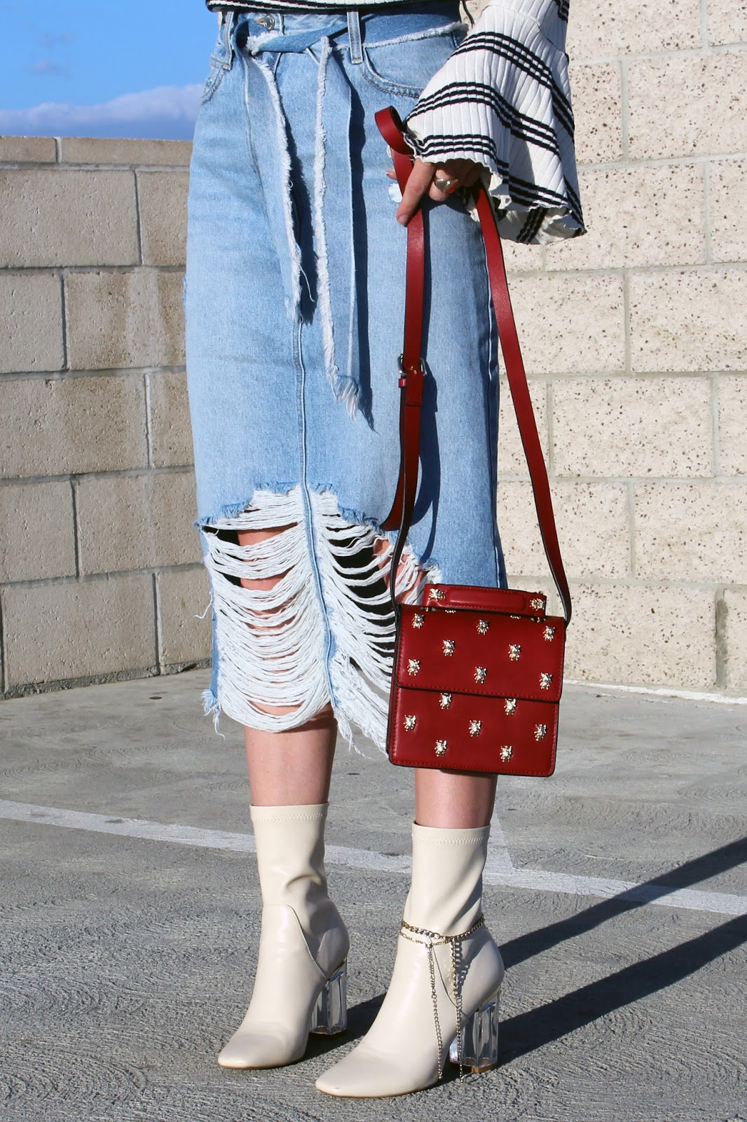denim midi skirt,  ankle boots, red mini bag, street style,