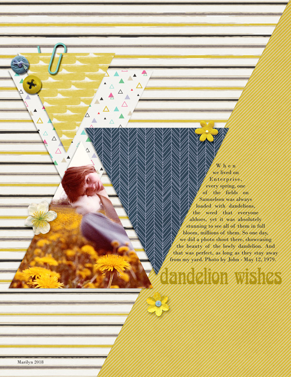 A nature digital scrapbook page with dandelions.