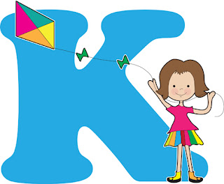 Clipart Image of a Girl Flying a Kite and the Letter K
