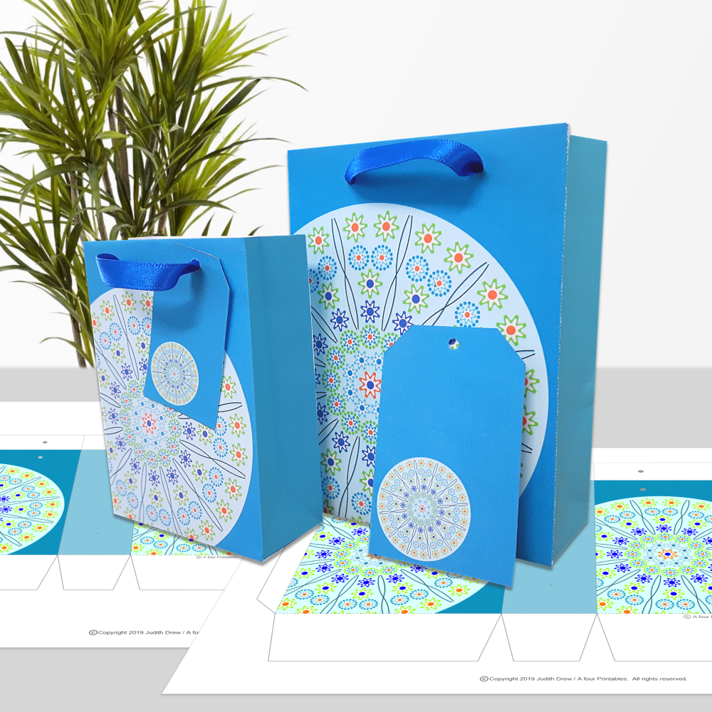 Millefiori style Mandala in blue gift bags and matching tags in two sizes test print sample from A four Printables.
