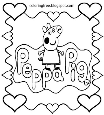 Sweet heart printable easy drawing I love Peppa pig coloring pages for nursery school kids to color