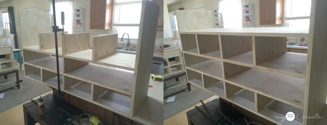 adding dividers and shelf to shoe cubby dresser