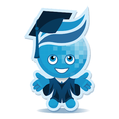 Image of Rio Salado mascot Splash in cap and gown