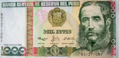 Foto de billete con el rostro de Andrés Avelino Cáceres