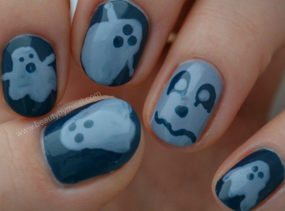 nails, ghosts, nail art,