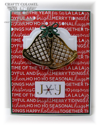 CraftyColonel Donna Nuce for Cards in Envy challenge blog.  Christmas Bells Spellbinders