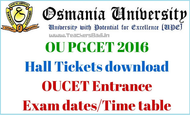 OU PGCET,Hall Tickets,OUCET Hall Tickets