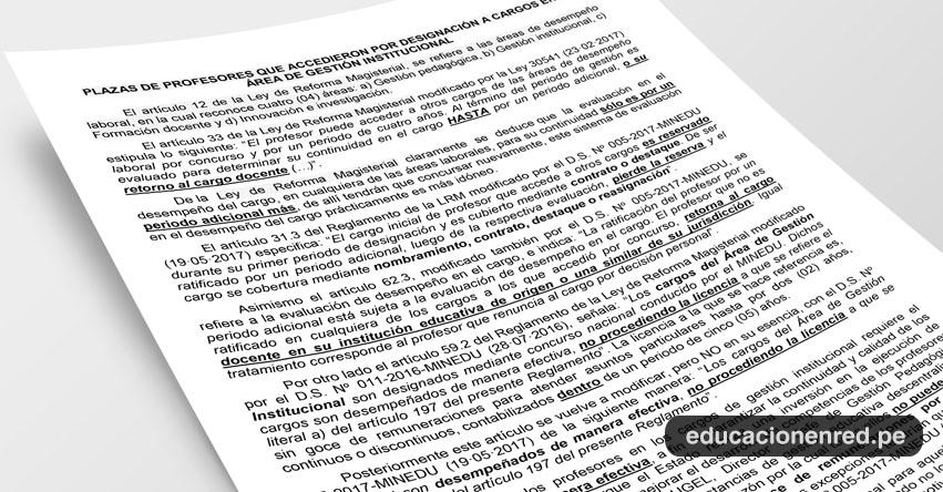 ANÁLISIS: Plazas de profesor que accedieron por designación a cargos en el Area de Gestión Institucional (Fernando Gamarra Morales)