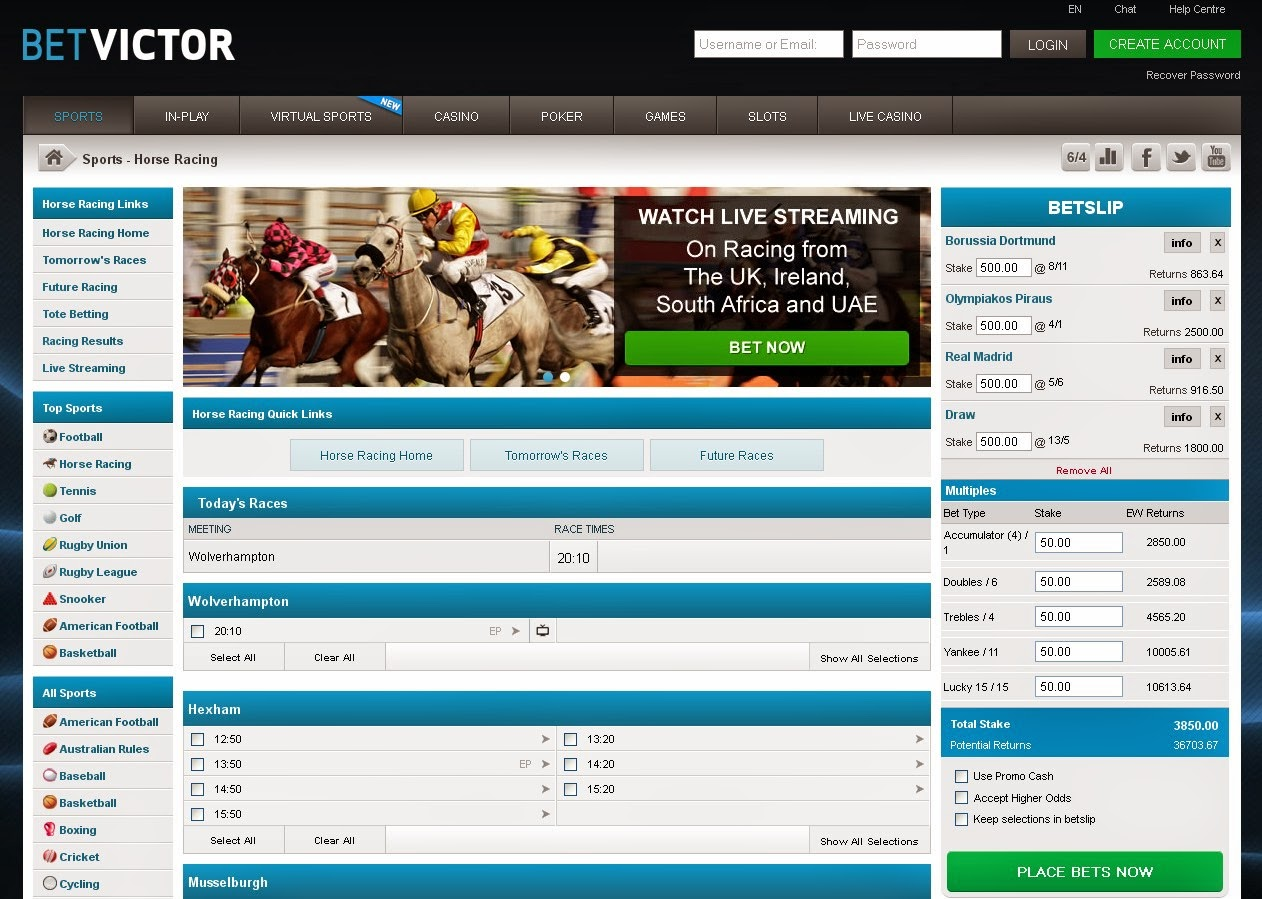 BetVictor Horse Racing Screen