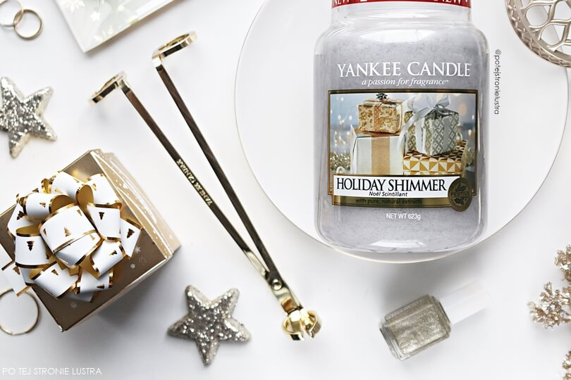 etykieta świecy yankee candle holiday shimmer
