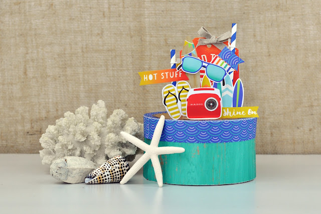 3d Beach Keepsakes Box Paper Craft by Jen Gallacher for www.jengallacher.com.