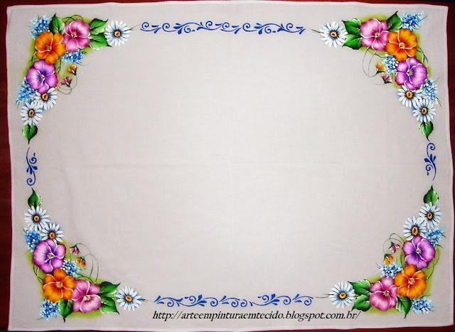 pintura em tecido flores amor perfeito