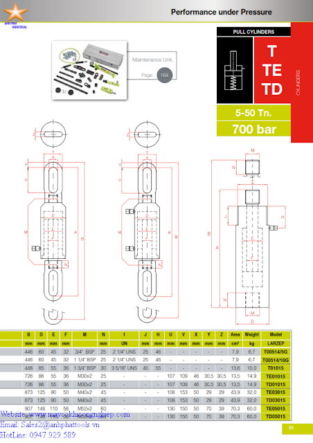 Kích Đơn Larzep T-TE-TD 54 KN - 483 KN